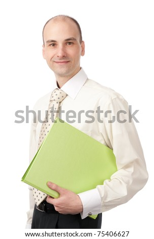 portrait of a young happy business man holding a folder