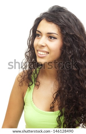 Portrait of a young  happy woman with green shirt over white background