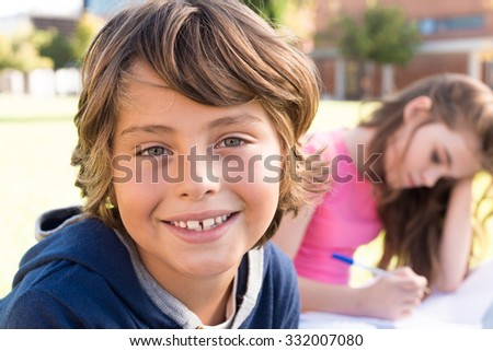 Portrait of a young kid on school campus