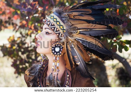 Portrait of a young lady in the Indian roach - stock photo