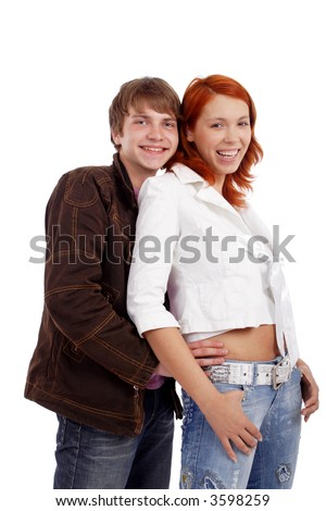 Portrait of a young loving people. Shot in a studio.