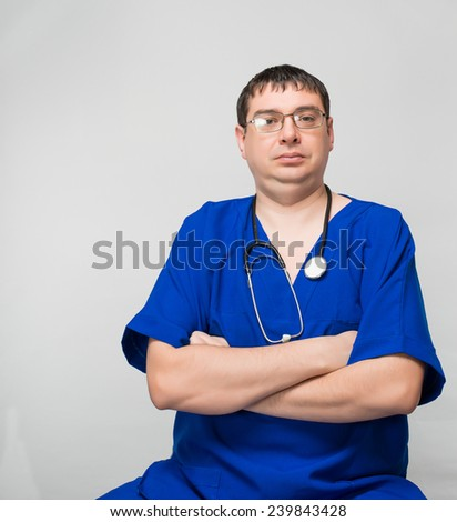 portrait of a young male health worker - stock photo