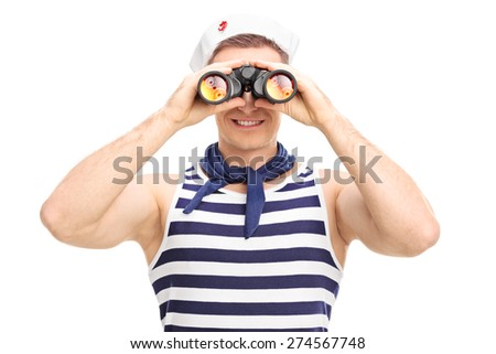 Portrait of a young male sailor looking through binoculars isolated on white background