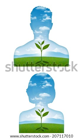 portrait of a young man and woman with a young sprout starting to grow inside him, a metaphor of a beginning of a new life - stock photo