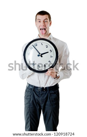portrait of a young man holding a clock