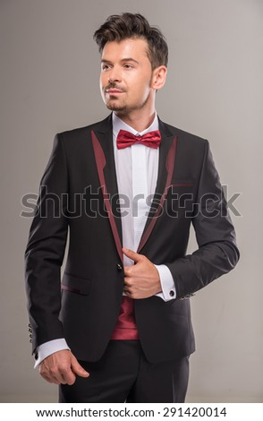 Black Suit Red Bow Tie Dress Yy
