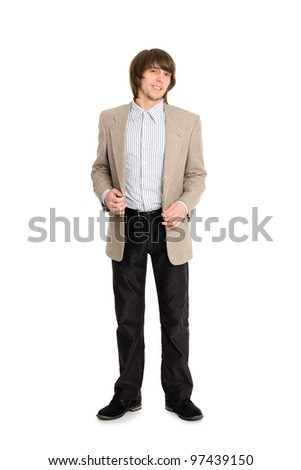 Portrait of a young man in full length. - stock photo