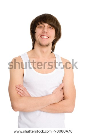 Portrait of a young man of athletic build. - stock photo