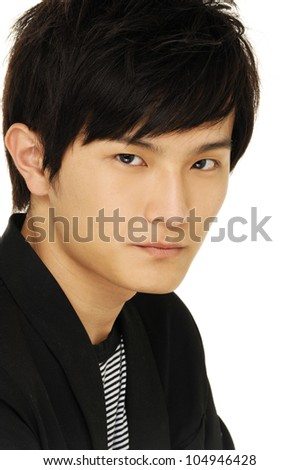 portrait of a young man on white background - stock photo