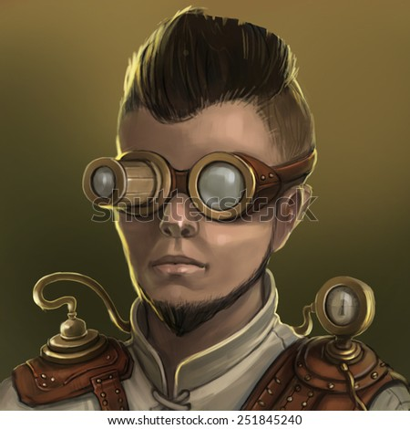 Portrait of a young man scientist steampunk, magician, engineer - stock photo