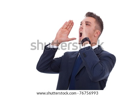 portrait of a young man screaming out loud on a white background
