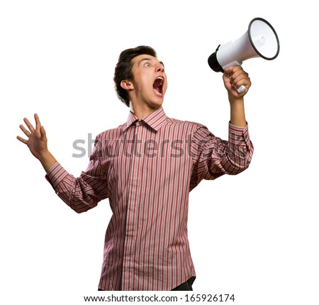 Portrait of a young man shouting using megaphone, isolated on white - stock photo