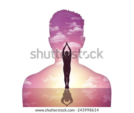 portrait of a young man showing his inner world where he makes greetings to the sun - stock photo