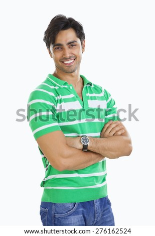 Portrait of a young man smiling - stock photo