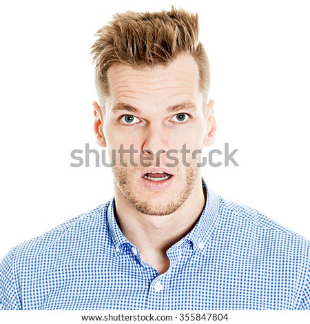 portrait of a young man surprised face expression