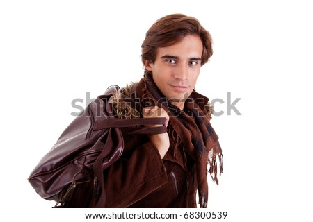 Portrait of a young man with a handbag, isolated on white. Studio shot - stock photo