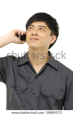 Portrait of a young man with a phone