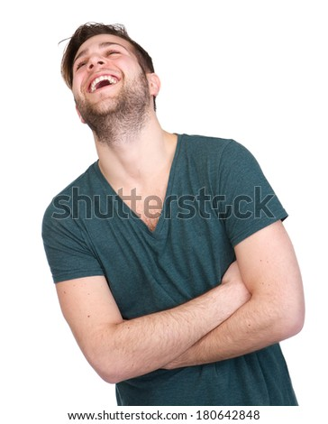 Portrait of a young man with beard laughing on isolated white background - stock photo