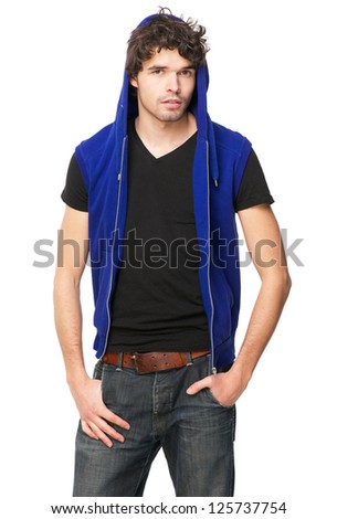 Portrait of a young man with blue hooded sweatshirt - stock photo