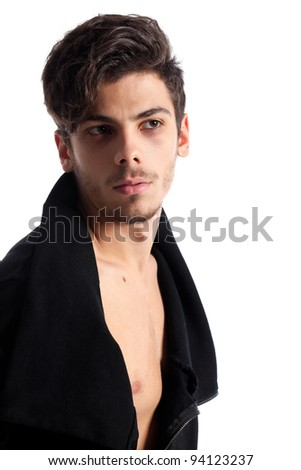 Portrait of a young man with cool hairstyle. Isolated on white background. Studio vertical image. - stock photo