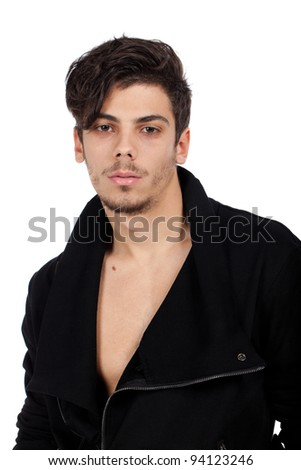 Portrait of a young man with cool hairstyle looking at camera. Isolated on white background. Studio vertical image. - stock photo