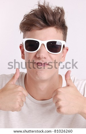portrait of a young man with facial expression - stock photo