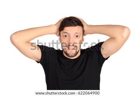 Portrait of a young man worried. Isolated white background.