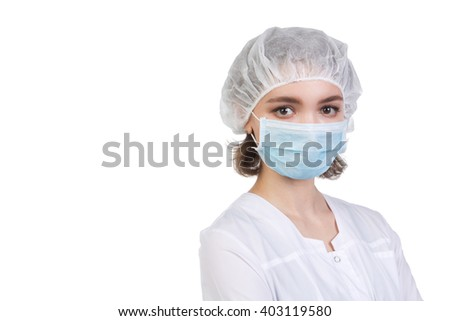 Portrait of a young nurse isolated on white background