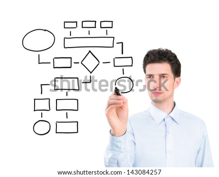 Portrait of a young pensive businessman holding a marker and drawing a blank flowchart. Isolated on white background.