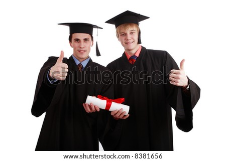 Portrait of a young people in a academic gown. Education background. - stock photo