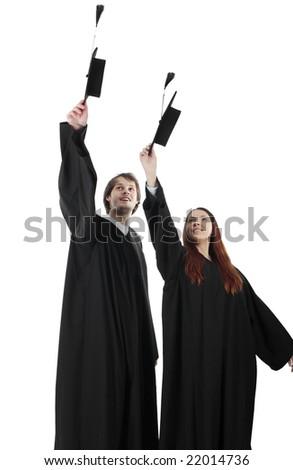 Portrait of a young people in an academic gown. Education background. - stock photo