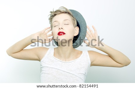 portrait of a young person dreaming - stock photo