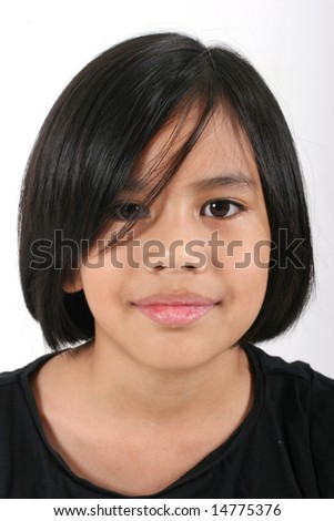 Portrait of a young pretty Eurasian Chinese girl in a black T-shirt - stock photo
