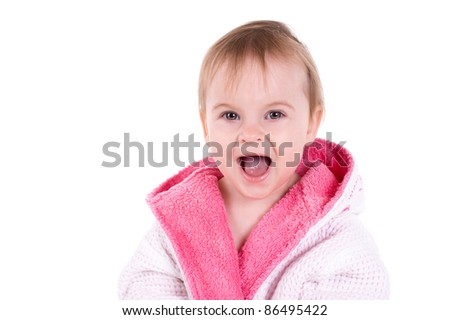 portrait of a  young shocked girl in bathrobe.