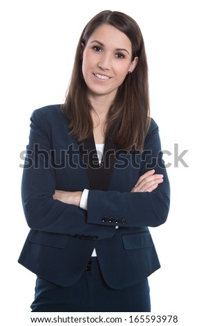 Portrait of a young smiling business woman isolated on white - stock photo