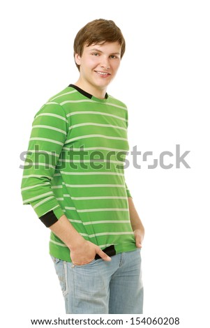Portrait of a young smiling guy, isolated on white background - stock photo