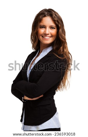 Portrait of a young smiling woman. Isolated on white - stock photo