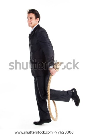 Portrait of a young successful and respectable businessman with a rope