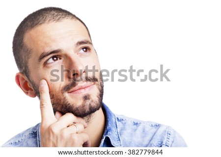 Portrait of a young thoughtful man, isolated over white background - stock photo