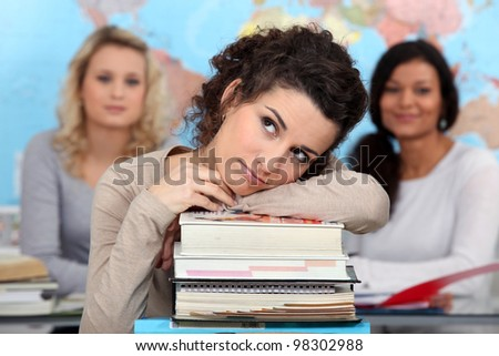 Portrait of a young woman at university - stock photo