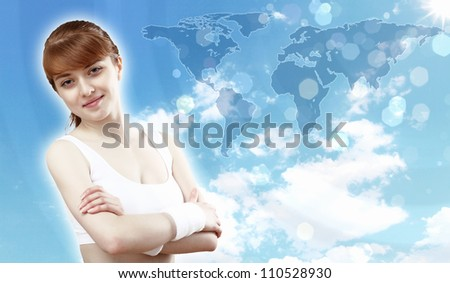 Portrait of a young woman doing sport with a bottle of pure water - stock photo