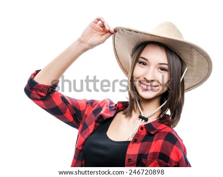 portrait of a young woman in a cowboy hat