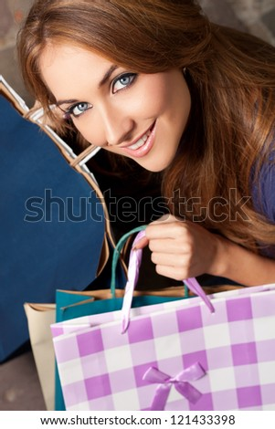 Portrait of a young woman in shopping