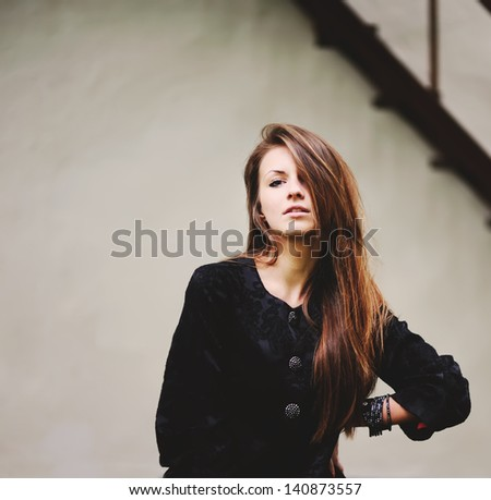 portrait of a young woman, lovely red hair