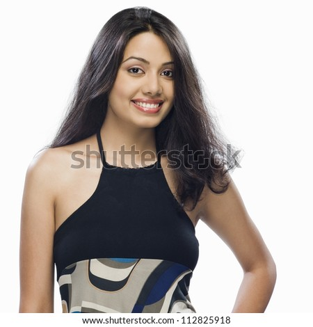 Portrait of a young woman posing - stock photo