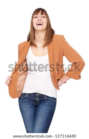 Portrait of a young woman smiling against white background - stock photo
