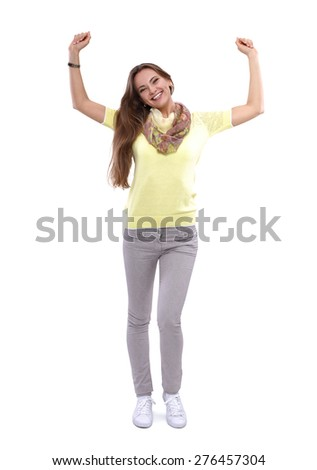 Portrait of a young woman standing - stock photo