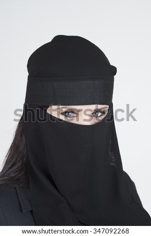 Portrait of a young woman wearing a Burka