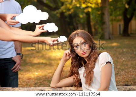 Portrait of a young woman who thinking - stock photo