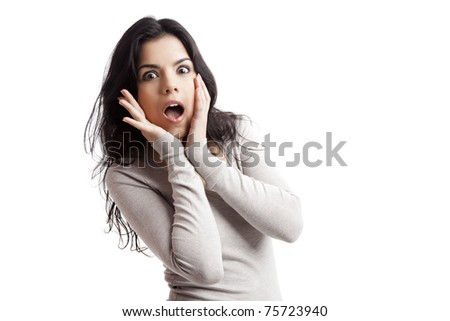 Portrait of a  young woman with a astonish expression, isolated over white background - stock photo